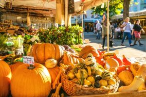 Fall farmers markets are loaded with local fresh produce from pumpkins to squash and more!