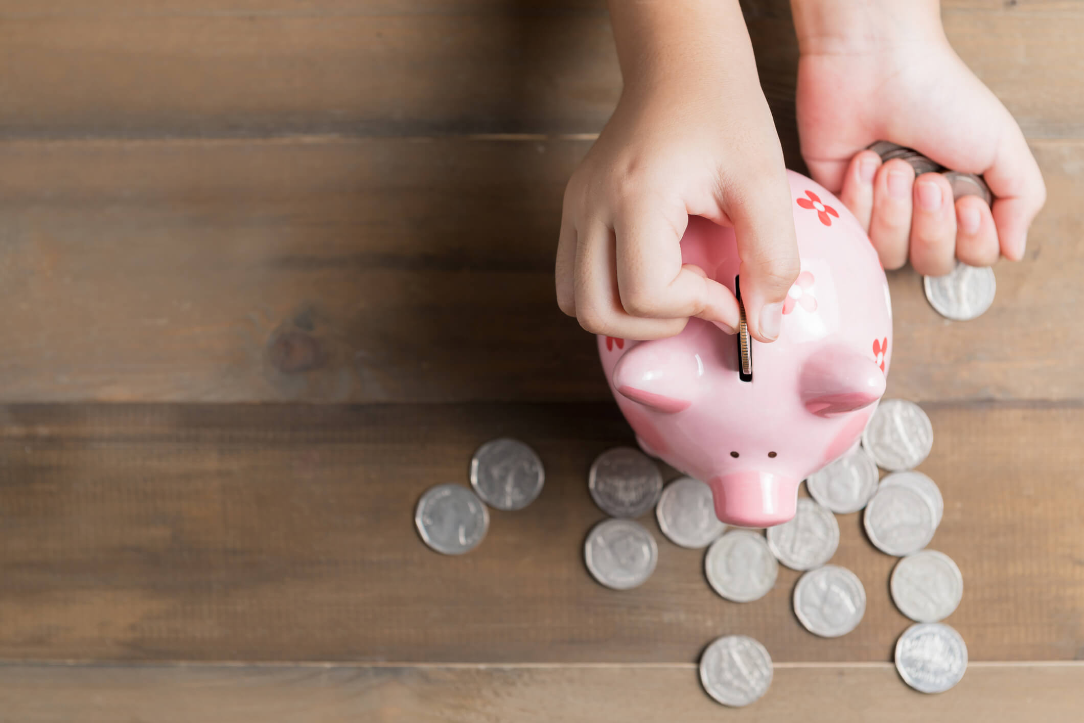 A person saving money