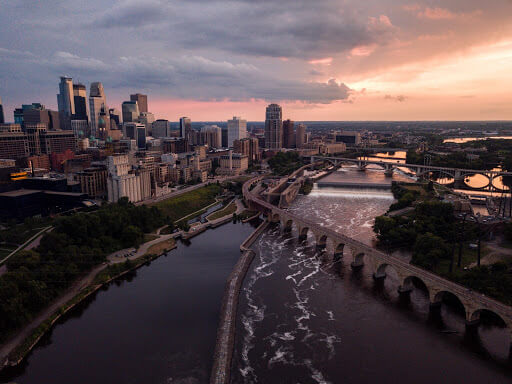 Aerial view of Minneapolis, MN